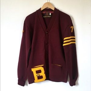 Vintage Lettermen's Sweater Wool Maroon Yellow Bob